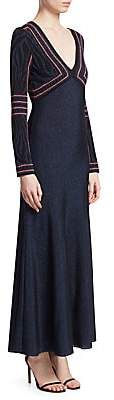 Roberto Cavalli Women's Lurex Jacquard Long Sleeve Gown