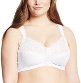 Glamorise Women's Plus-Size Soft Shoulders Lace Front Close Soft Cup Bra