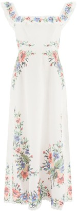 Zimmermann JULIETTE DRESS WITH EMBROIDERY 2 White, Red, Green Linen