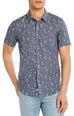 Marine Layer Cotton Tropical Print Slim Fit Button-Down Shirt