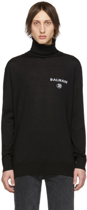 Balmain Black Wool Zipped Turtleneck