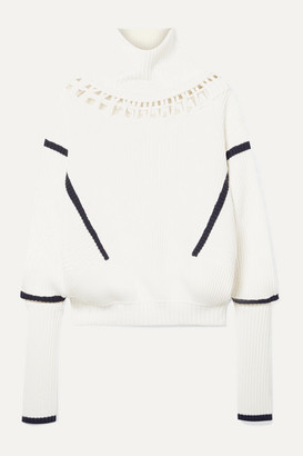 Palmer Harding Lateral Cutout Ribbed Merino Wool And Cotton-blend Turtleneck Sweater - Cream