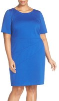 Ellen Tracy Seam Detail Elbow Sleeve Ponte Sheath Dress (Plus Size)