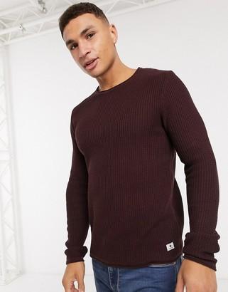 Jack and Jones textured sweater in burgundy