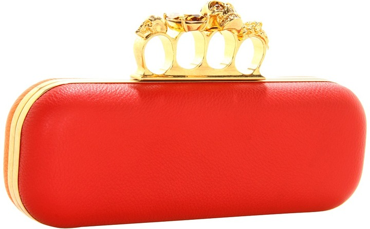 Alexander McQueen Knuckle Box Clutch (Shiny Red/Orange) - Bags and Luggage