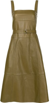 Proenza Schouler White Label Belted-Waist Leather Midi Dress