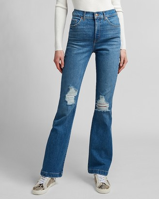 Express High Waisted Ripped Bootcut Jeans