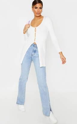 PrettyLittleThing Tall Cream Brushed Rib Long Sleeve Button Cardigan