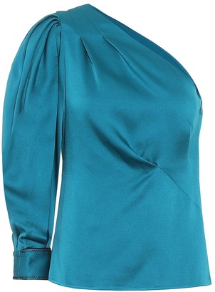 Peter Pilotto One-shoulder satin blouse