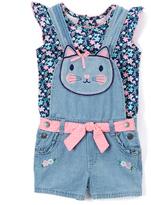 Nannette Navy Angel-Sleeve Top & Kitty Shortalls - Infant Toddler & Girls