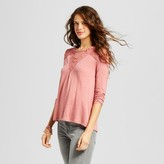 Xhilaration Women's Long Sleeve Knit Top Coral Juniors')