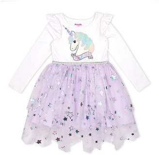Nannette Kids Girls' Casual Dresses WHITE - White Unicorn & Star Foil Tutu Dress - Toddler