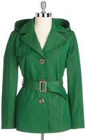 Ellen Tracy Hooded Short Trench Coat
