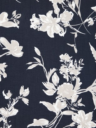 Oddies Textiles Leaf Print Fabric, Blue Denim