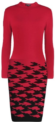 Rumour London Sea And Sky Red Illusion Houndstooth Knitted Jacquard Dress