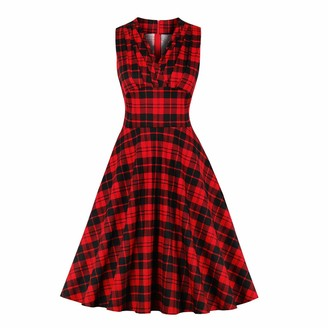 Wellwits Women's Blak Red Check Pleated Front High Waist 1950s Vintage Dresss L