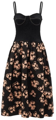 Marina Moscone - Shirred-bodice Floral-print Dress - Womens - Black Print