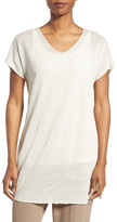 Eileen Fisher Linen Blend V-Neck Tee