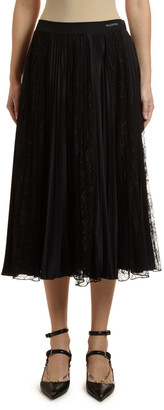 Valentino Lace-Inset Pleated Jersey Skirt