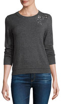 Kate Spade Embellished Crewneck Pullover Sweater, Mile Gray Melange