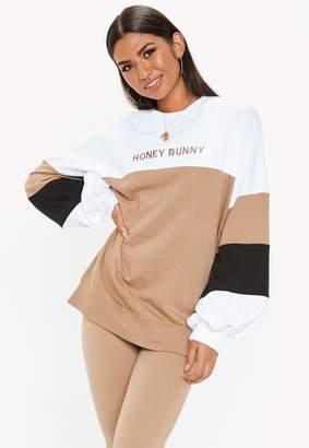 Missguided Tall White Colour Block Honey Bunny Sweatshirt