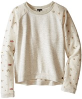 Ikks Knit Pullover Sweatshirt with Printed Sleeves & Sequined K Patch on Chest (Little Kids/Big Kids)