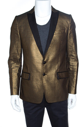 Dolce & Gabbana Gold Textured Contrast Lapel Detail Tailored Blazer L