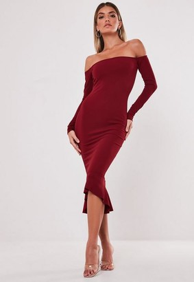 Missguided Red Bardot Fishtail Bodycon Dress