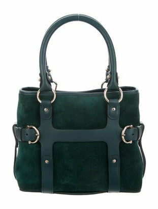 Salvatore Ferragamo Suede Mini Satchel green