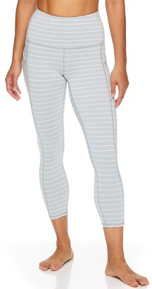 Gaiam Women's Om High-Waisted Striped Capri Leggings
