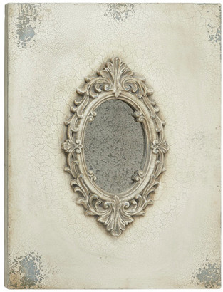 Brimfield & May Large Gray and Beige Antique Acanthus Wooden Wall Plaque Mirror