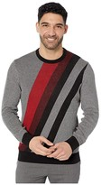 Perry Ellis Bold Stripe Long Sleeve Sweater (Dark Sapphire) Men's Clothing