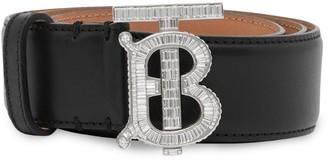 Burberry Crystal TB Monogram Leather Belt
