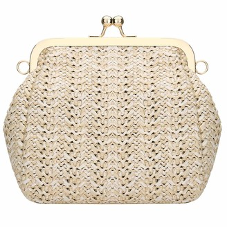Toyis Women Straw Bag Crossbody Travel Tote Purse Straw Purses And Handbags For Women Straw Bags For Beach (White)