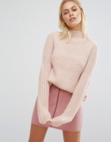 Fashion Union Relaxed Sweater In Rib Knit