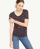 Ann Taylor Scoop Neck Linen Sunday Tee - In Circles