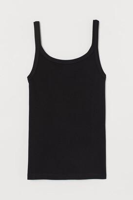 H&M Ribbed Jersey Tank Top - Black