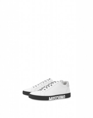 Moschino Double Question Mark Sneakers Man White Size 39 It - (6 Us)