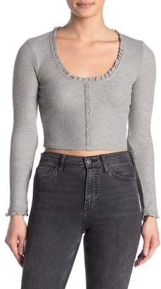 Wild Honey Ruffle Trim Scoop Neck Waffle Knit Top