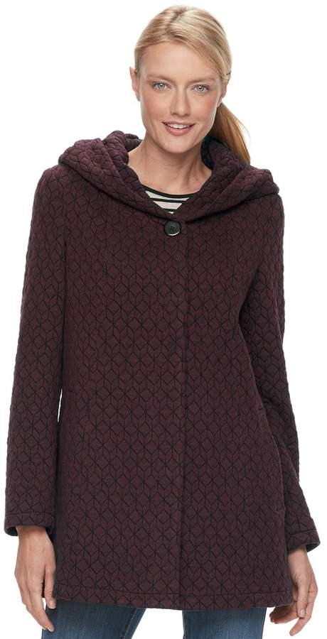 Gallery Women's Hooded Textured Fleece Jacket