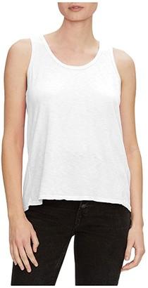 Michael Stars Lara Supima Cotton Slub Scoop Neck Tank Top w/ Rib Insert (White) Women's Clothing