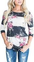 Assivia Women Floral Print 3 4 Sleeve T-Shirts Casual Striped Blouse Tops (L, )