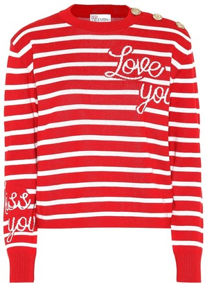 RED Valentino Striped cotton intarsia sweater