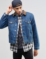 Asos Denim Jacket in Slim Fit In Indigo With Cord Collar
