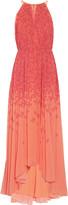 Badgley Mischka Asymmetric printed chiffon gown