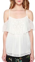 Willow & Clay Women's Embroidered Cold Shoulder Tank