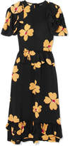 Simone Rocha Ruffled Floral-print Silk-crepe Midi Dress - Black