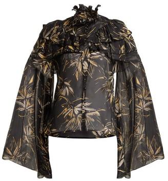Rodarte Palm-print Silk-chiffon Blouse - Black Print
