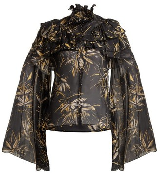 Rodarte Palm-print Silk-chiffon Blouse - Womens - Black Print