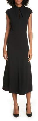 Judith & Charles Pisa Keyhole Wool Jersey Midi Dress